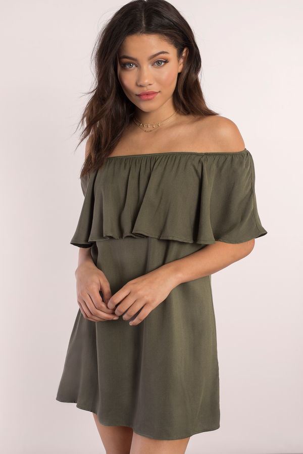 450fc4336940 Olive Shift Dress - Off Shoulder Dress - Olive Dress - Olive Shift ...