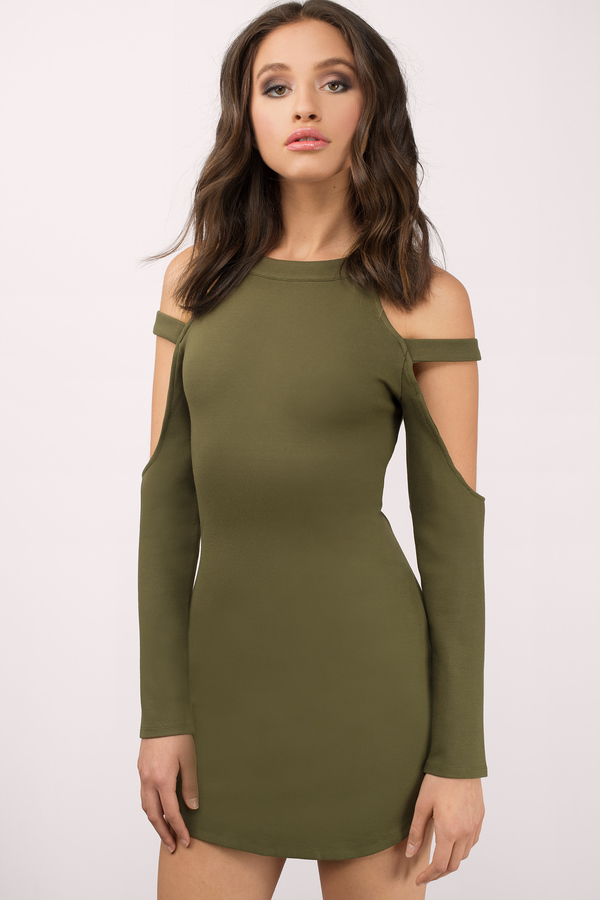 Cute Olive Bodycon Dress Cut Out Dress Bodycon Dress 14