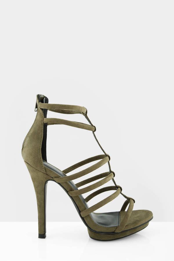 Embra Olive Suede Heels