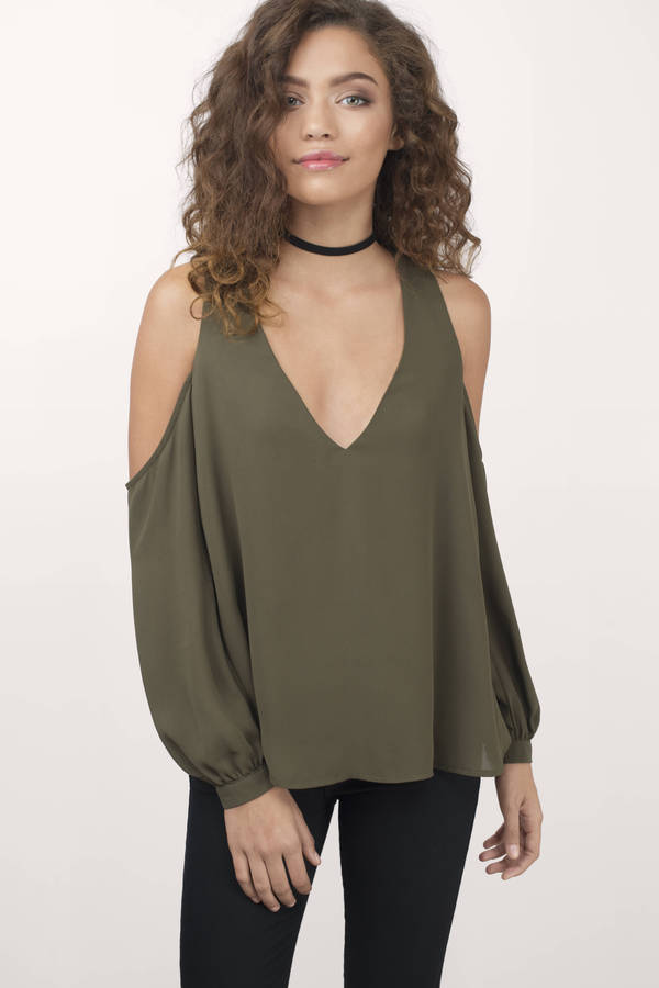 c890e326fd606 Trendy Olive Shirt - Cold Shoulder Shirt - Olive Shirt -  15