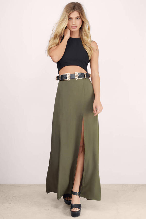 Sexy Olive Skirt - Green Skirt - Slit Skirt - $9.00