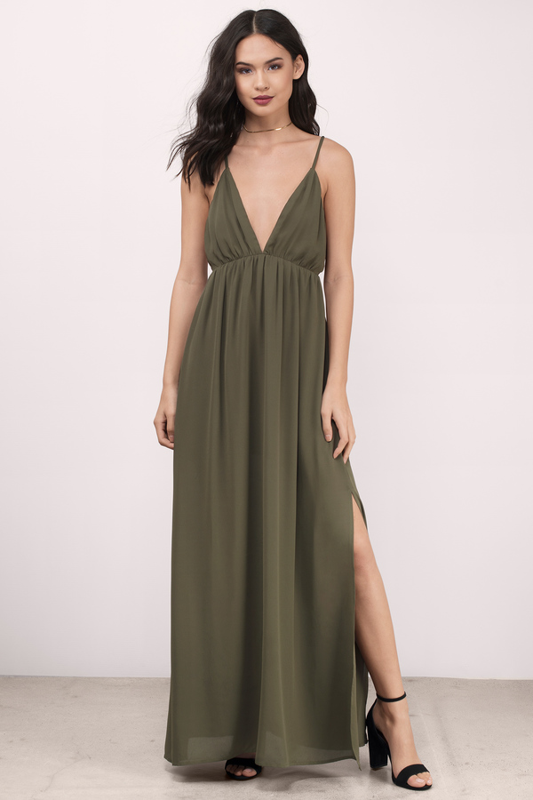 361aac5bb02 Elegant Dress - Olive Green Dress - Chiffon Dress - Maxi Dress ...