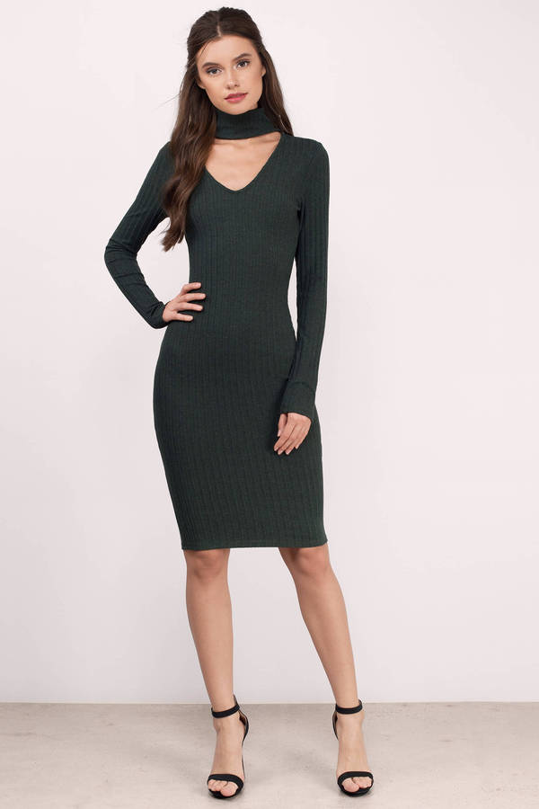 237abb9d8ce8 Cute Olive Dress - Forest Green Long Sleeve Dress - Midi Dress - NZ ...