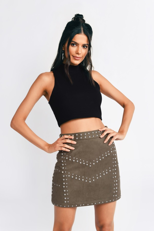 c21df10551 Olive Green Skirt - Suede A Line Skirt - Olive Green Studded Skirt ...
