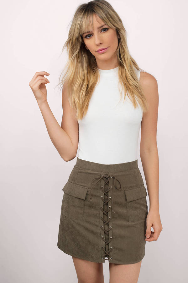 5a0eae469 Cute Olive Skirt - Lace Up Skirt - Faux Suede Skirt - Olive Skirt ...