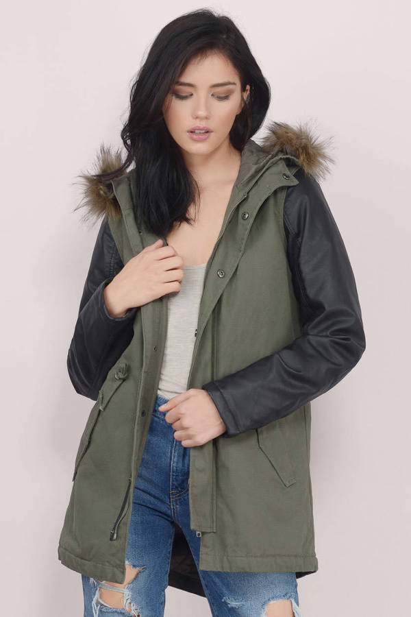 Olive Coat - Green Coat - Anorak Coat - $39.00