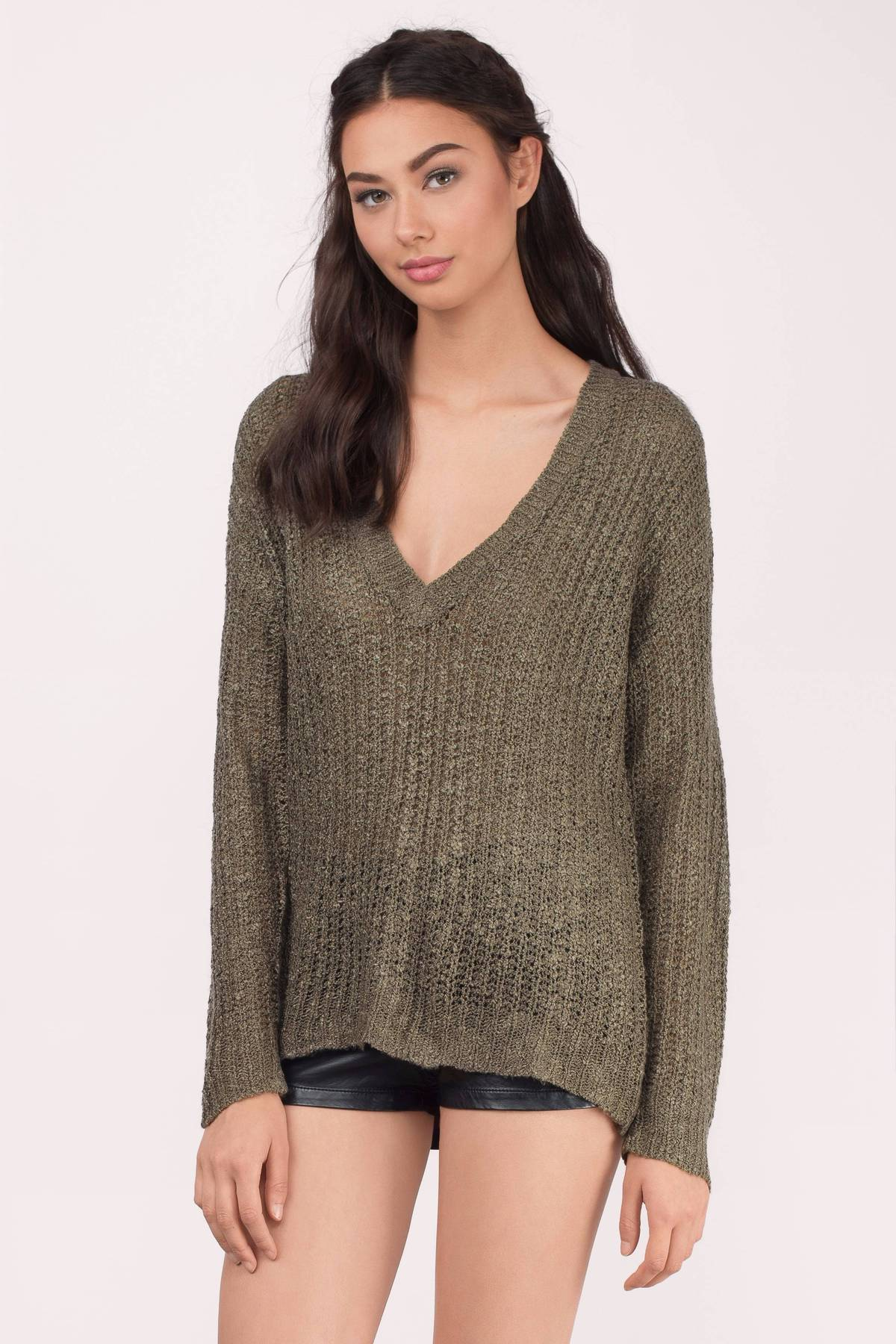 Cute Olive Sweater - Green Sweater - V Neck Sweater - $25.00