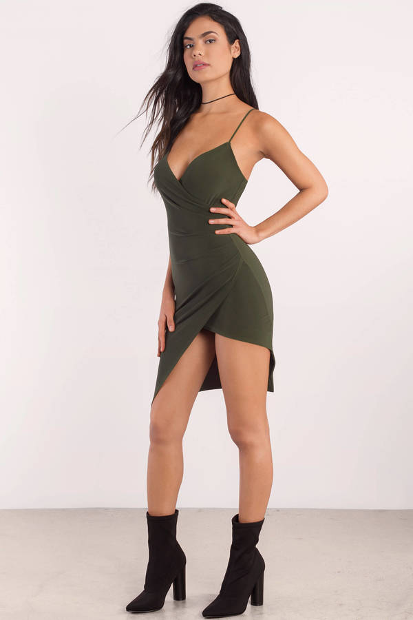 Olive Maddie Asymmetrical Bodycon Dress on singapore bar models
