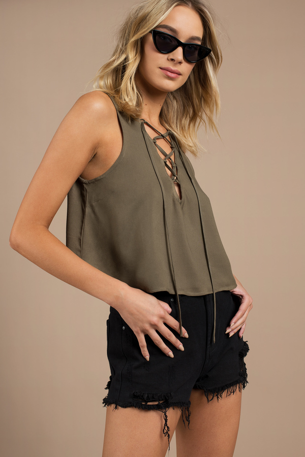 Lace Crop Tops, Olive, Madison Lace Up Crop Top, ...