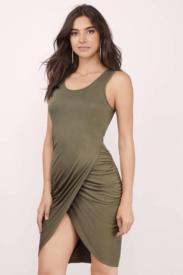 b97ef9aa1492 Cute Olive Wrap Dress - Wrap Dress - Green Dress - Midi Dress -  15 ...