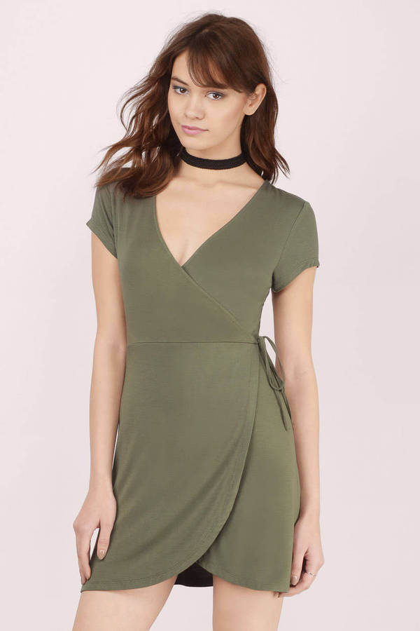 Olive Wrap Dress Green Dress Draped Dress Green Wrap