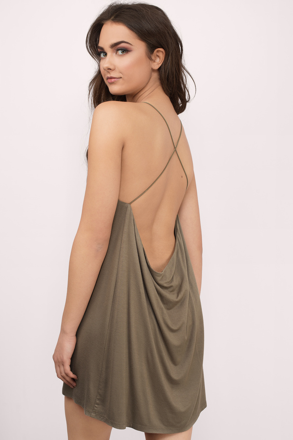 Sexy Olive Green Shift Dress - Backless Dress - Green Mini Dress ... 695df2cc7