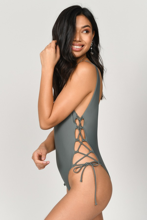 7f97f8a0487df Green One Piece - Lace Up One Piece - Green Low Back Swimsuit - £11 ...