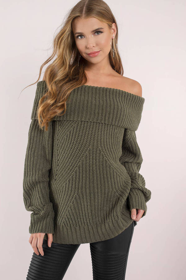 846143f842 Olive Green Sweater - Off Shoulder Sweater - Olive Green Foldover ...