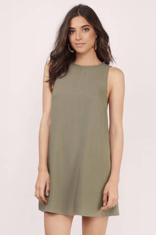 Cute Olive Shift Dress - Sleeveless Dress - Shift Dress - € 49  780f90227