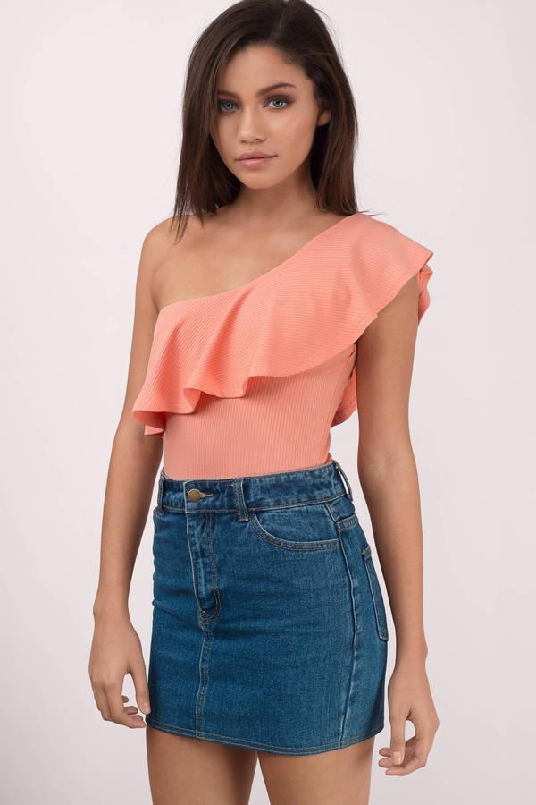 trendy peach bodysuit one shoulder bodysuit peach bodysuit