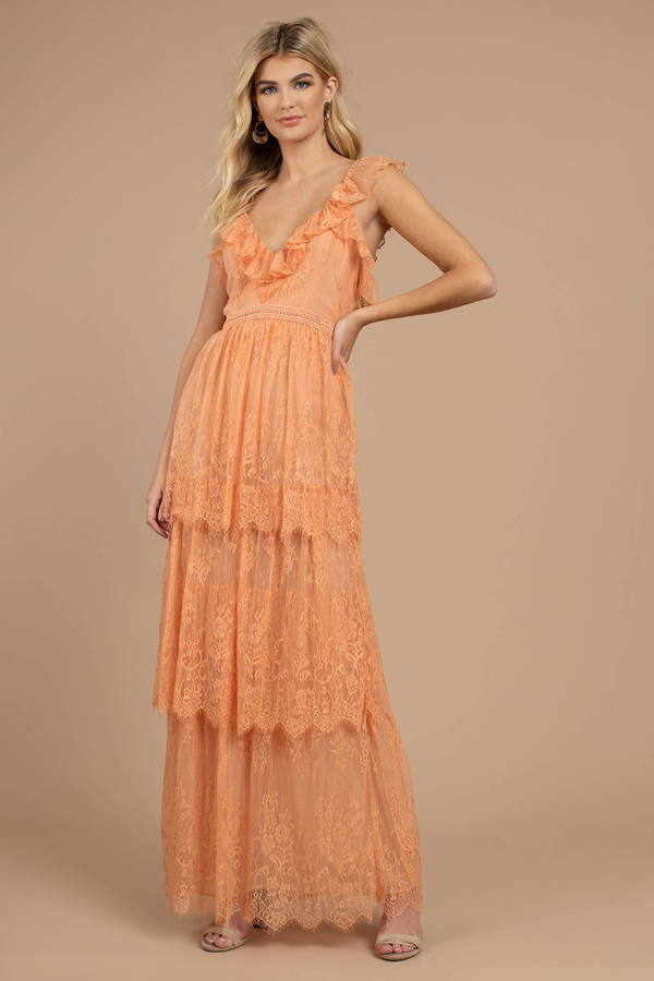 e3444dc02f Luna Peach 3-Tier Ruffle Lace Maxi Dress -  43