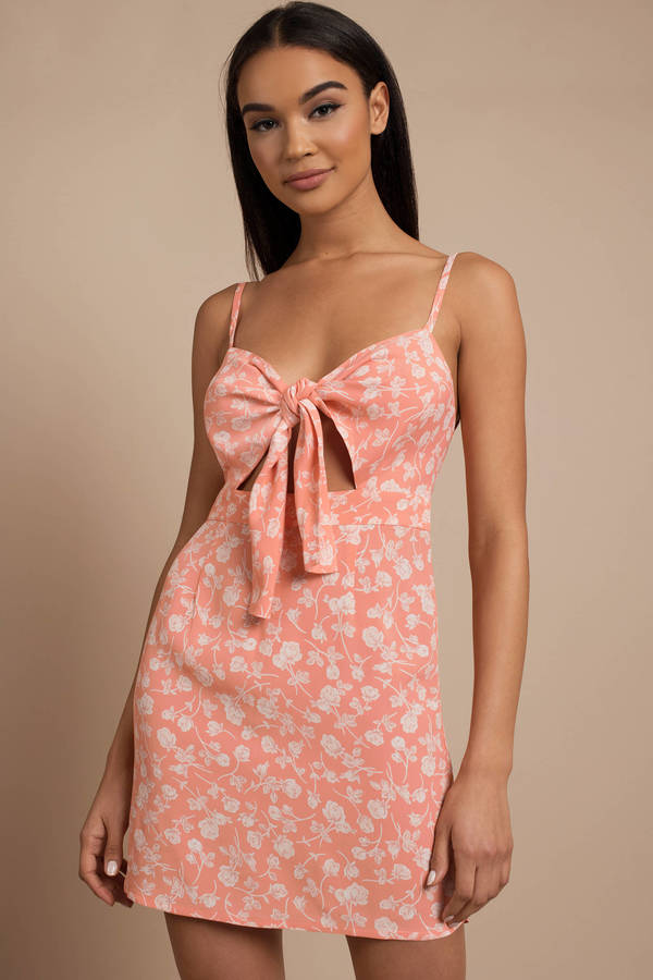 Peach Dresses Twilight Tie Front Dress