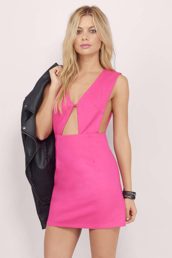 Sexy Pink Bodycon Dress - Cut Out Dress - $10.00