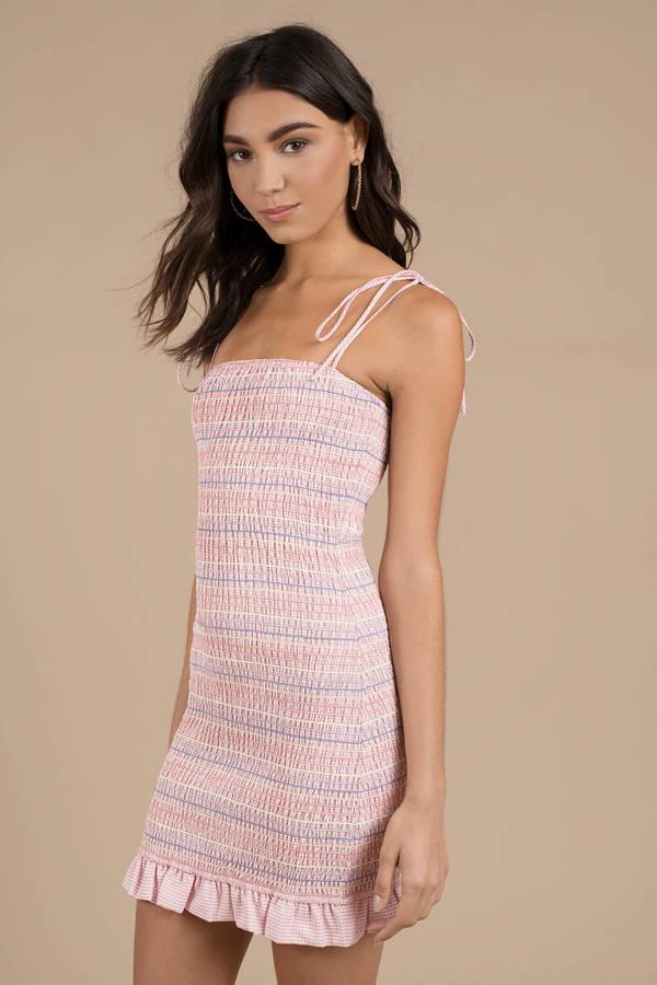 Tropical Nights Pink Multi Ruffle Bodycon Dress by Tobi