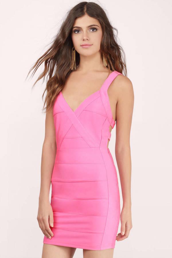 08b9d6a81fe Sexy Pink Dress - Bandage Dress - Bodycon Dress - Pink Dress -  9 ...