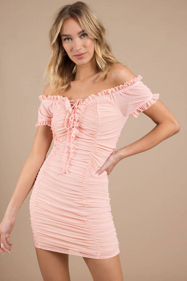 Stephanie Pink Ruched Mesh Bodycon Dress by Tobi