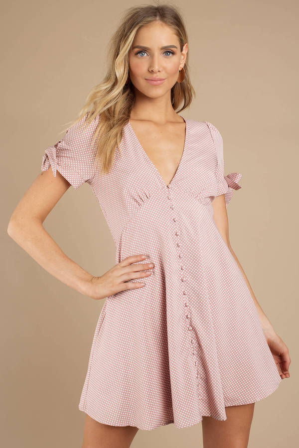 Blush Pink Dresses Sue Polka Dot Print Dress