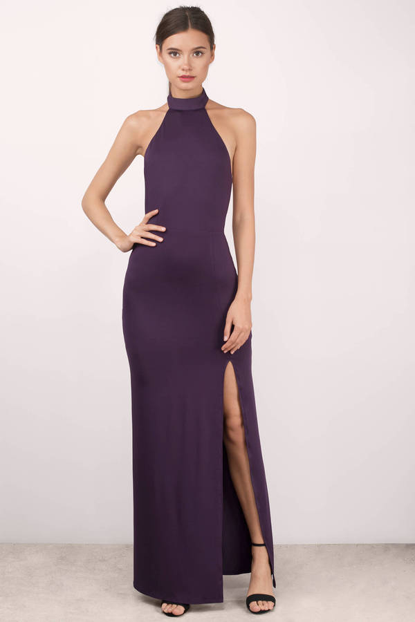 Black Maxi Dress - Backless Dress - Mock Neck Dress - Full Dress - $66