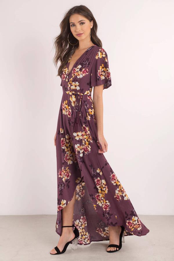 43ed780bdd84 Purple Maxi Dress - Plunging Sundress - Purple Floral Maxi Dress ...