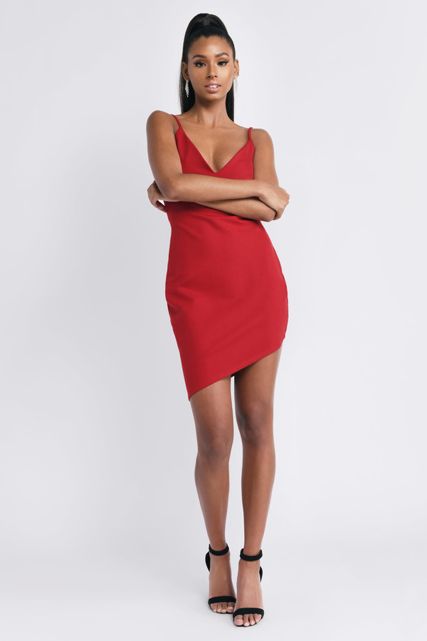 Sexy Red Bodycon Dress - Open Back Dress - $66.00