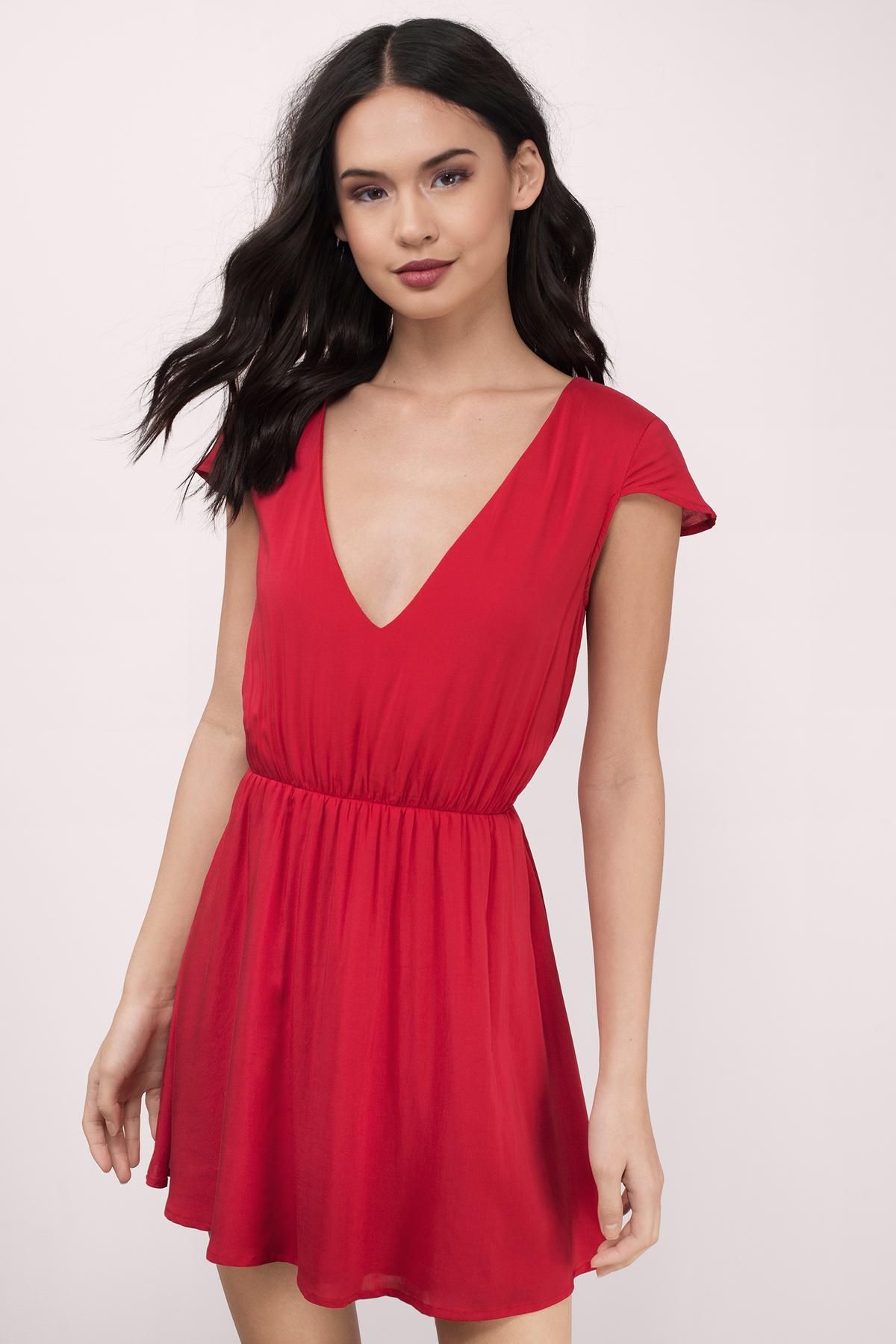 Sexy Red Skater Dress - Red Dress - V Neck Dress - $10.00