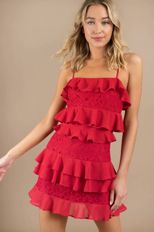 Red Shift Dress Tiered Ruffle Dress Sexy Red Evening