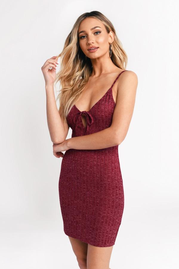 4a497c1da10d Cute Bodycon Dress - Front Tie Dress - Red Open Back Dress - S  37 ...