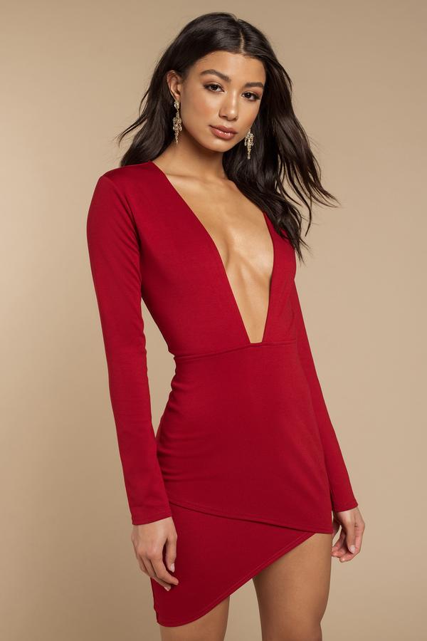Red Bodycon Dress - Red Dress - Long Sleeve Dress - $62.00