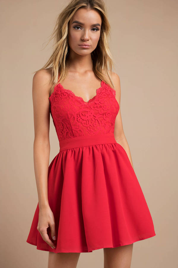 6cd21ae446 Red Skater Dress - Bridesmaid Dress - Red Cami Dress - C  56