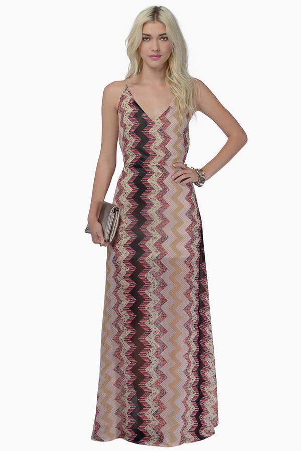 Blue Multi Dress - Chevron Print Dress - Multicolor Maxi Dress - $14 ...