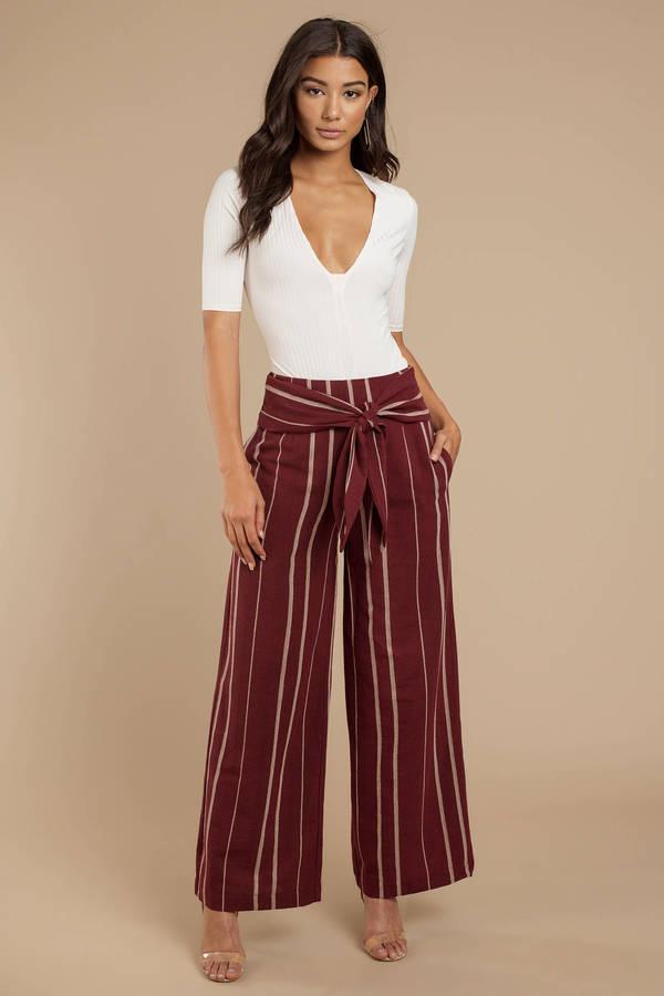 Maroon Moon River Pants Wide Leg Pants Maroon High Waisted Pants