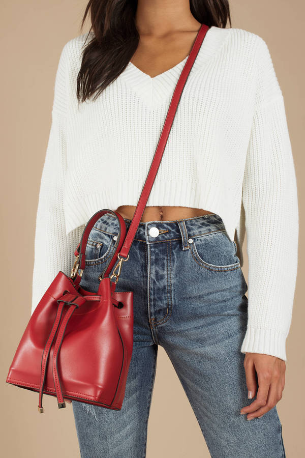 Red Bag - Trendy Crossbody Bucket Bag - Red Bucket Bag - AU  82 ...