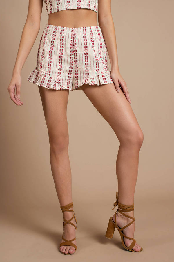 Navajo Red Ruffled Shorts by Tobi