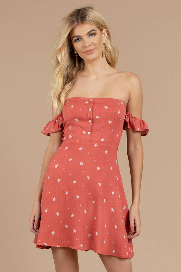 3961ffaed6a0 Red Skater - Star Print Dress - Red Off Shoulder Dress - Ruffle ...