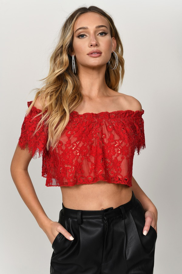 5aa6d40135928 Lovely Red Crop Top - Off Shoulder Crop Top - Red Lace Crop Top - AU ...
