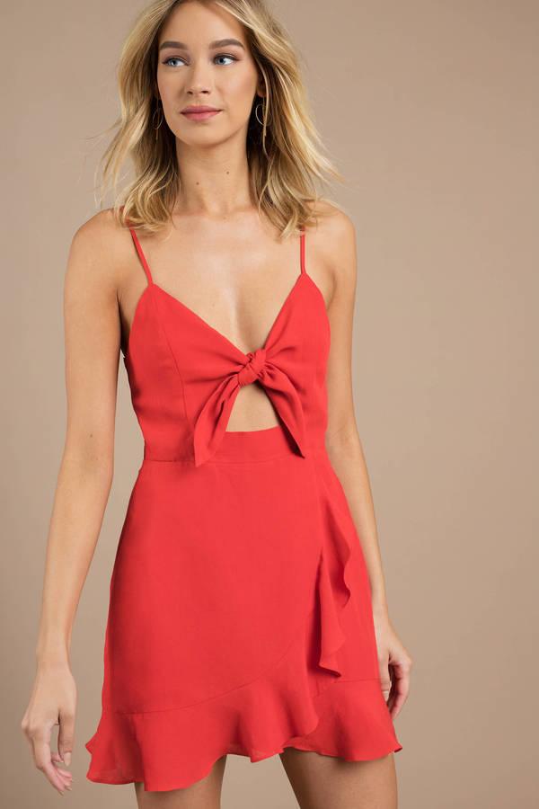 Warm Wishes Red Wrap Skater Dress by Tobi