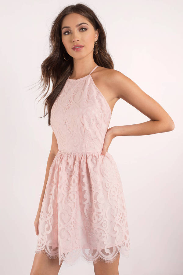 f8dd0c5fbc Cute Rose Dress - Lace Dress - Pink Flare Dress - Skater Dress - £30 ...