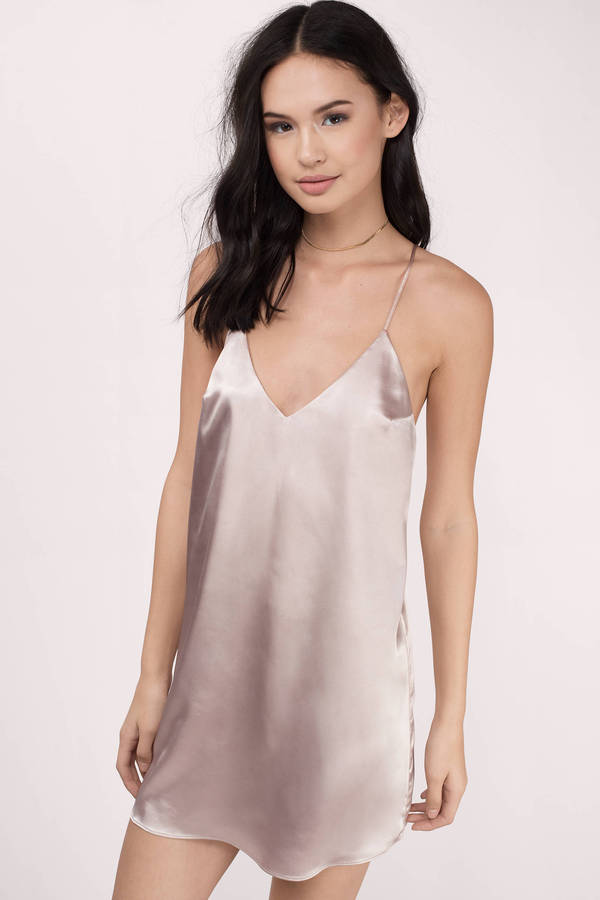 64af315038b5a Pink Shift Dress - Satin Drape Dress - Pink Slip Dress - S$ 39 | Tobi SG