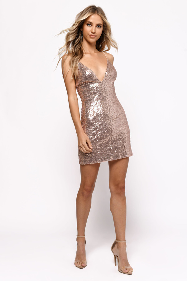 Sequin Dresses Rose Gold Alina Plunging Bodycon Dress