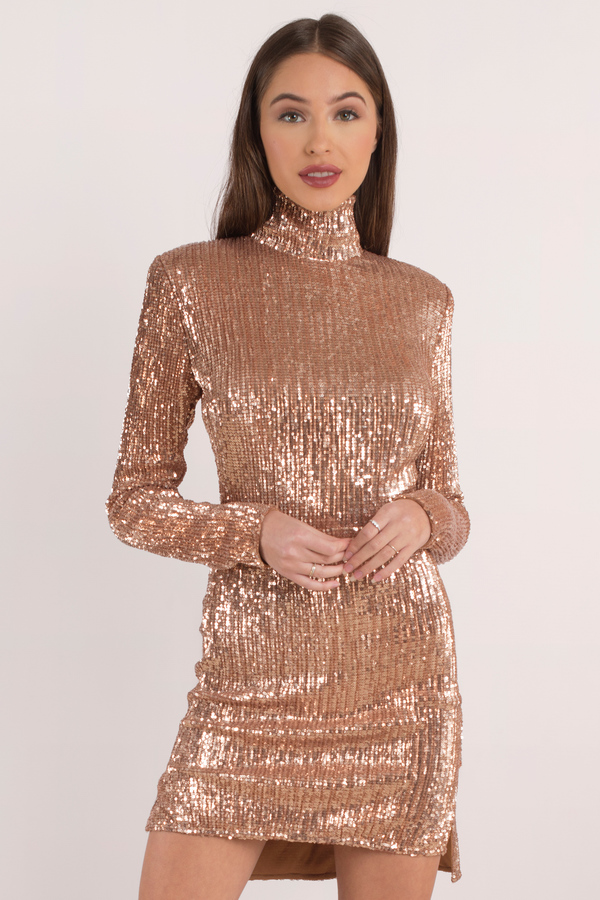Sandstorm Rose Gold Mock Neck Bodycon Dress 44 Tobi Us