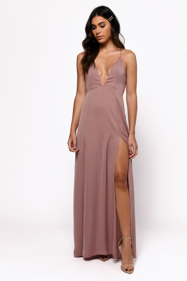 Winter Formal Dresses Rose Khloe Plunging Maxi Dress