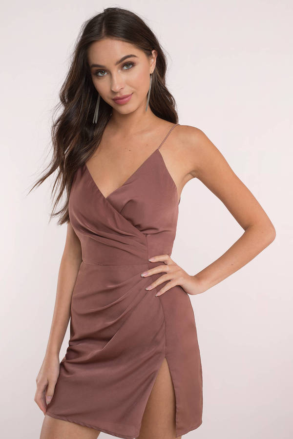Sexy Blush Dress Front Slit Dress Pewter Dress Wrap Dress