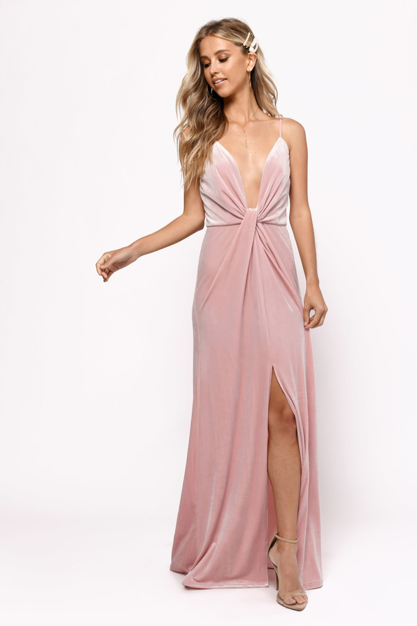 Pink Dresses Rose Layla Velvet Plunging Maxi Dress