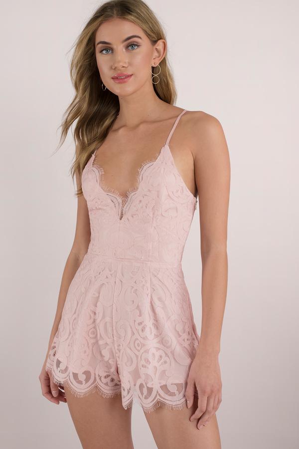 b4e550165bbf Rose Romper - Lace Romper - Pink Romper - Spaghetti Strap Romper - C ...